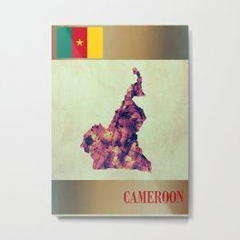 Cameroon Map with Flag Metal Print