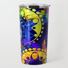 Texture of bright colorful and blue gears and laurel wreaths in kaleidoscope style on a dark blue ba Travel Mug