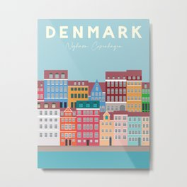 Denmark, Nyhavn, Copenhagen Travel Poster Metal Print