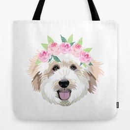 Golden Doodle dog - dog portrait, dog face, golden doodle, doodle dog, dog, dogs, dog fabric Tote Bag