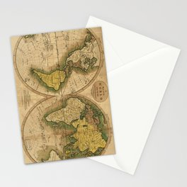 Vintage Map of The World (1795) 2 Stationery Cards