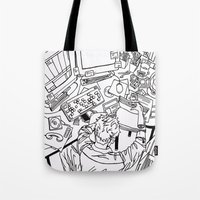 the office Tote Bags featuring office  by sydneymadisonqueen
