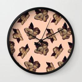 Classical Cherub Toss in Peach Fresco Wall Clock
