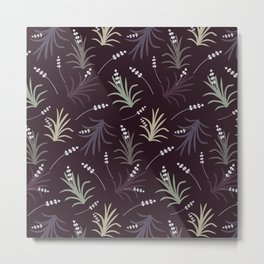 Flowering Grass in Plums and Greens Metal Print