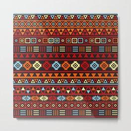 Aztec Influence Ptn IV Orange Red Blue Black Yellow Metal Print