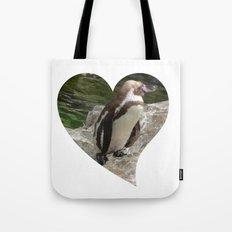 Penguin in heart shape Tote Bag