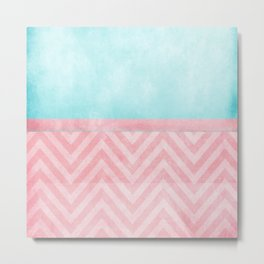 pink and turquoise chevron Metal Print