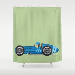 Blue Retro Racing Car Shower Curtain