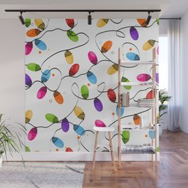 New year background design. Colorful Christmas light bulb Wall Mural