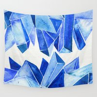 minerals Wall Tapestries featuring Sapphire Watercolor Facets by Cat Coquillette