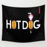 hot dog Wall Tapestries featuring Hot Dog : idokungfoo.com by simon oxley idokungfoo.com