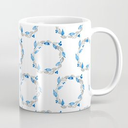 Blue and Gray Watercolor Leaf Wreath Coffee Mug