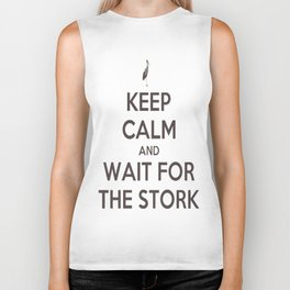 Keep Calm And Wait For The Stork Baby Delivery Biker Tank