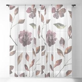 Abstract Shapes Autumn Flowers Sheer Curtain