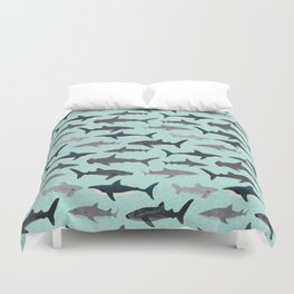 Sharks nature animal illustration texture print marine biologist sea life ocean Andrea Lauren Duvet Cover