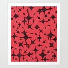 Shimmering Black Stars in Red Background Art Print