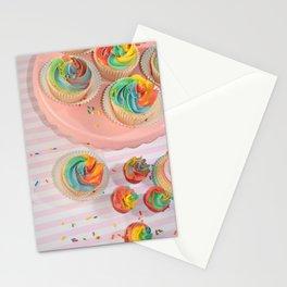 rainbow cupcakes Stationery Cards