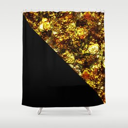 Golden Triangle - Abstract, geometric, Black And Gold Foil Artwork Shower Curtain