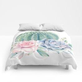 Cactus Rose Succulents Comforters