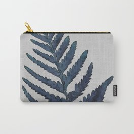 Botanical Indigo Navy Blue Vintage Leaf Fern, Watercolor Wall Art Farmhouse Rustic Country Nature Carry-All Pouch