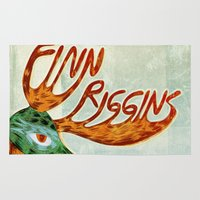 finn Area & Throw Rugs featuring Finn Riggins gig poster by Santiago Uceda