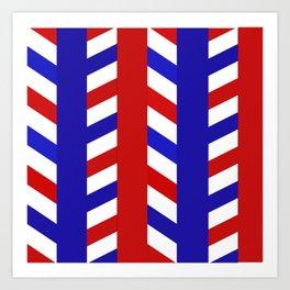 Striped Red Blue Pattern Art Print
