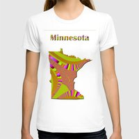 minnesota T-shirts featuring Minnesota Map by Roger Wedegis