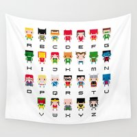 cyclops Wall Tapestries featuring Superhero Alphabet by PixelPower