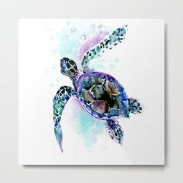 Sea Turtle Underwater Scene Artwork, turquoise blue, gray design beach Metal Print