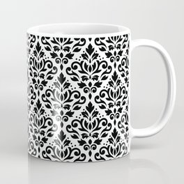 Scroll Damask Big Pattern Black on White Coffee Mug