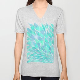 Blue watercolor feathers Unisex V-Neck