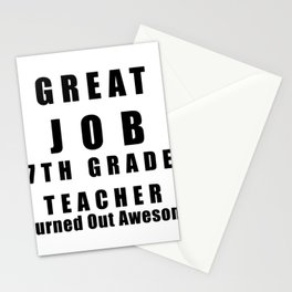 Great Job 7th Grade Teacher Funny Stationery Cards