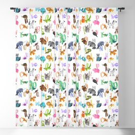Cute Watercolor Animal Alphabet Pattern Blackout Curtain