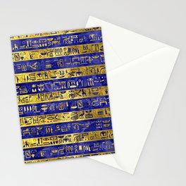 Golden Egyptian  hieroglyphs pattern on  blue Stationery Cards