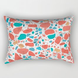 Terrazzo - Mosaic - living coral palette on marble Rectangular Pillow