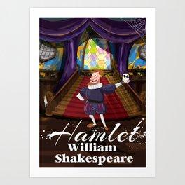 Hamlet by William Shakespeare cartoon poster Art Print