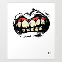 rooster teeth Art Prints featuring TEETH! by Helena Bowie Banshees