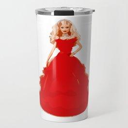 Christmas Doll in Red Dress Vector Art Travel Mug