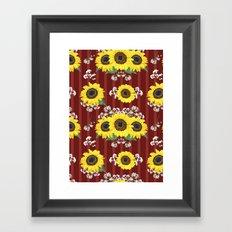 The Striped Red Fresh Sunflower Seamless Pattern Framed Art Print