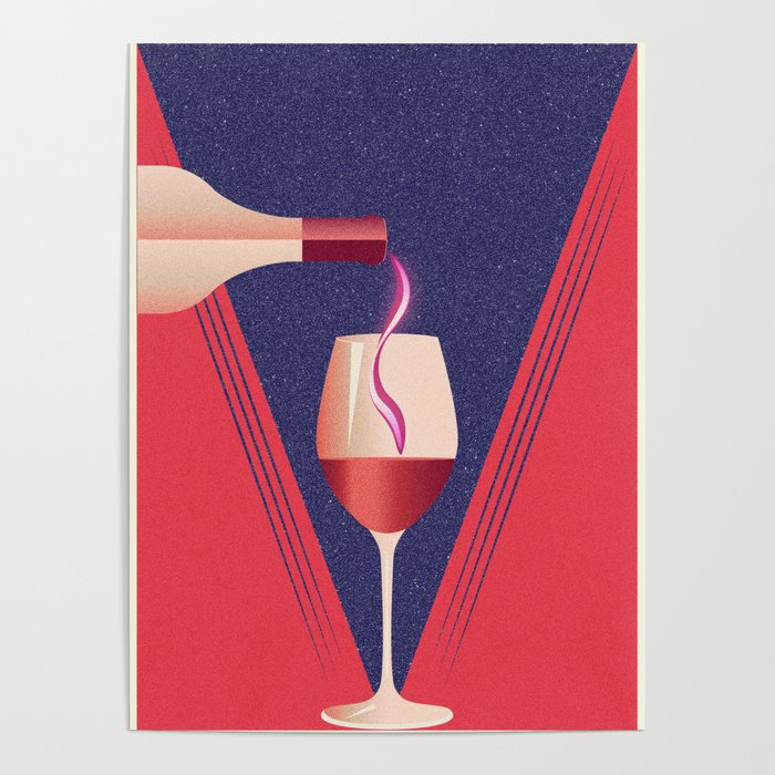 Minimalist style poster with glass and bottle of wine Poster