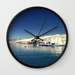 White and dark blue Wall Clock