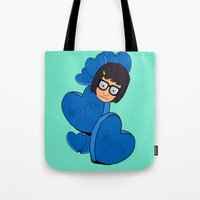 tina Tote Bags featuring Tina Belcher  by Moremeknow