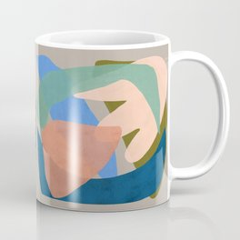 Shapes and Layers no.30 - Large Organic Shapes Blue Pink Green Gray Coffee Mug