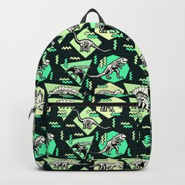 90's Dinosaur Skeleton Neon Pattern Backpack