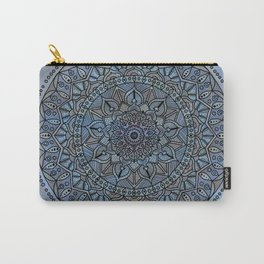 Circle of Life Mandala full color on blue swirl Carry-All Pouch