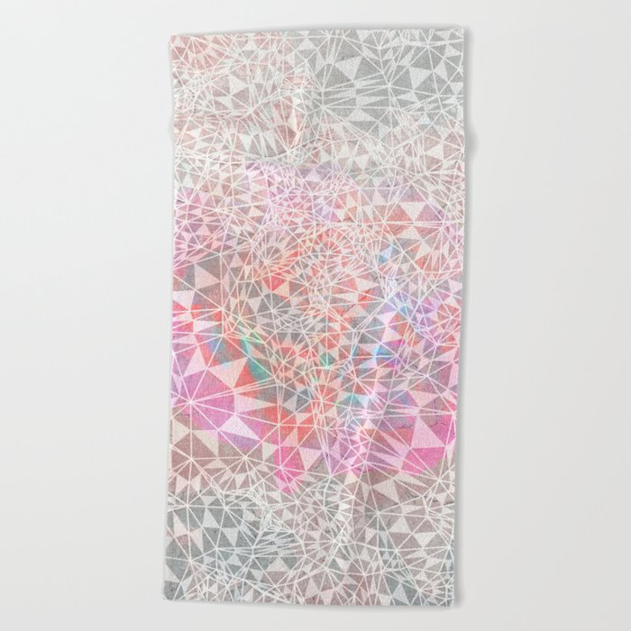 Geo batik pattern - pink Beach Towel