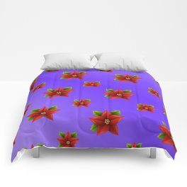 Red Flowers Pattern 3 Comforters