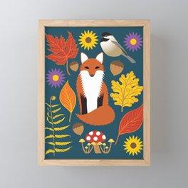 Autumn Leaves and Fox Framed Mini Art Print