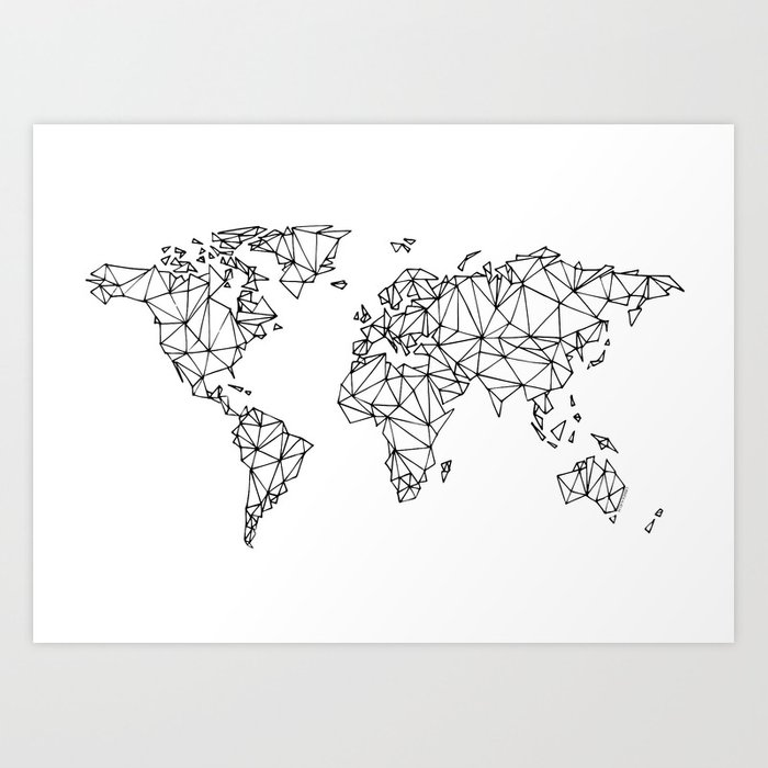 World Map White Art Print By Knallhatt Society - World map white