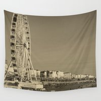 uk Wall Tapestries featuring Ferris Wheel at Brighton, UK by Carncross Photography